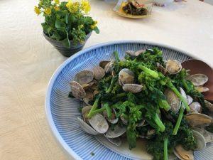 あさりと菜の花の酒蒸し 健康ごはん塾 2020.3.6 かかや クッキングサロン 料理教室 春日部