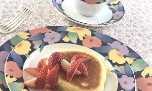 ふわふわスフレパンケーキいちご添え 2021.1.19 フレンチデモクラス かかや 春日部 クッキングサロン 料理教室 埼玉県